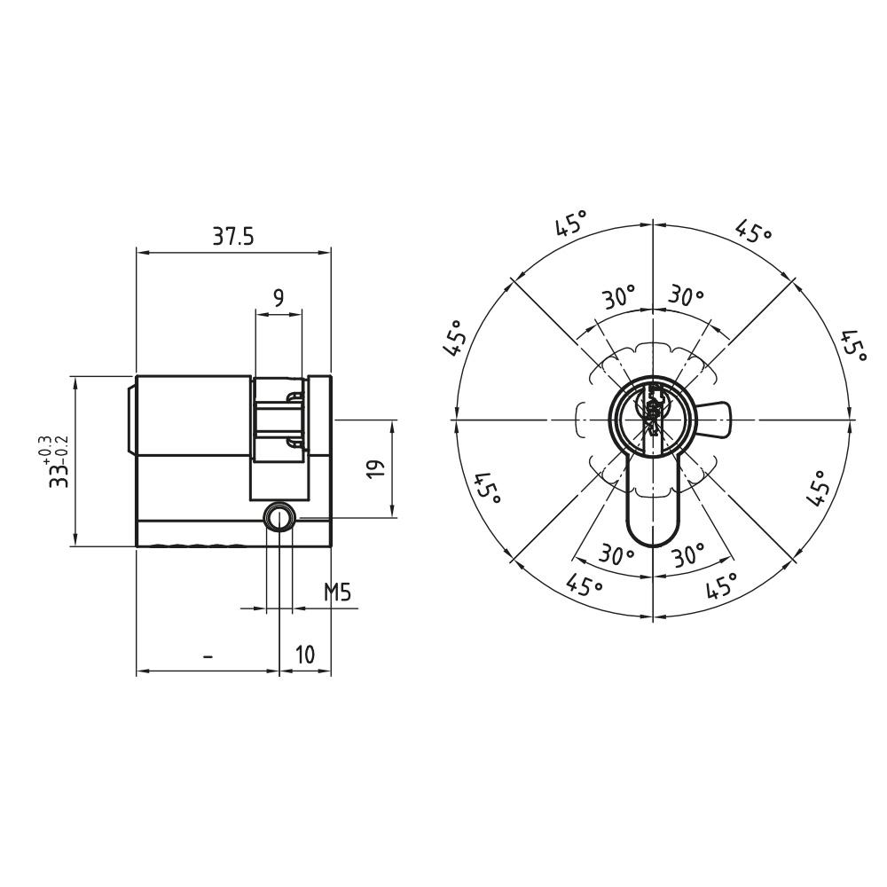 Garagenzylinder im vertikalen Wendeschlüsselsystem von CES